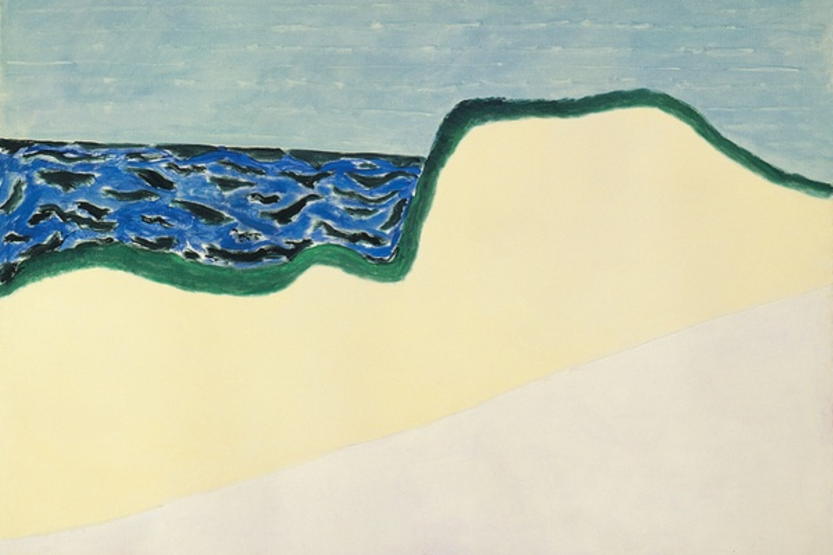 Abstract painting on canvas. The painting depicts a beach setting with the sand painted in two flat layers of beige and tan respectively. The thick green outline separates the sand from the ocean, which also have green marks over it.