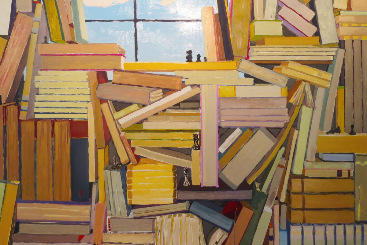 "KK Koznik's ""Czech"" oil on canvas in various warm and cool colors. The painting depicts several books organized and piled on each other with the sun lit window being the only layer of light. The placement of the books is creating an illusion of depth."