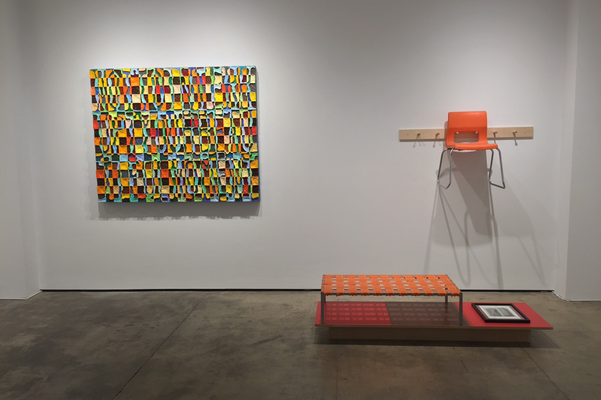 "Installation shot of two works by Peter Dudek. From left to right, the works are ""Not to interrupt your beautiful moment"" and ""Modern Shakers""."