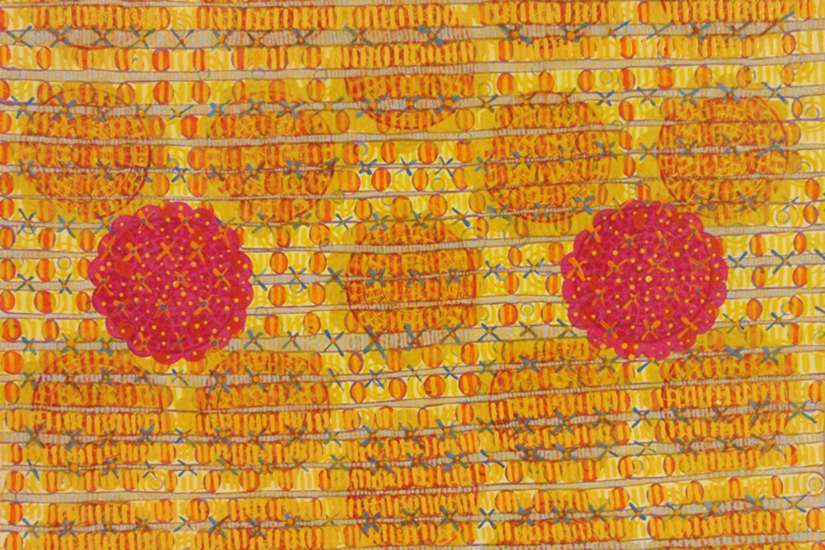 "Diane Ayott's ""Recurrent Dreams"" done in mixed media on paper. This work of art has a quilt-like design pattern done in warm colors such as red, orange, yellow and tan, along with thin blue threads being stitched together."
