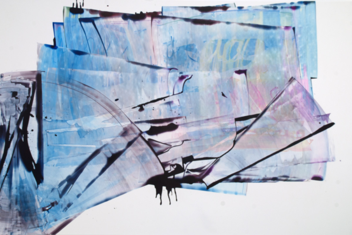 "Sarah Irvin's ""Aboveborad"" done in ink on yupo in shades of cool colors such as blue, purple and yellow. Strokes of ink are painted on each other creating an illusion of depth as the pattern overlaps and recedes."