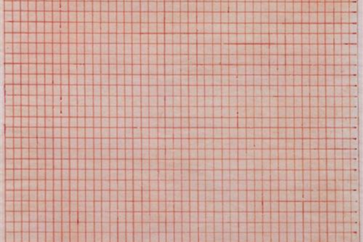 This artwork is a red lined grid on a pale pink surface. While perfectly aligned, some marks are thicker than others.