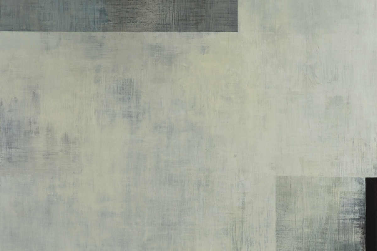 Abstract painting on canvas dominated by shades of gray. The painting is a flat gray surface, with small rectangles painting on two of the edges of the surface. The lower right part as a thin black rectangle. The painting is compromised of negative space.