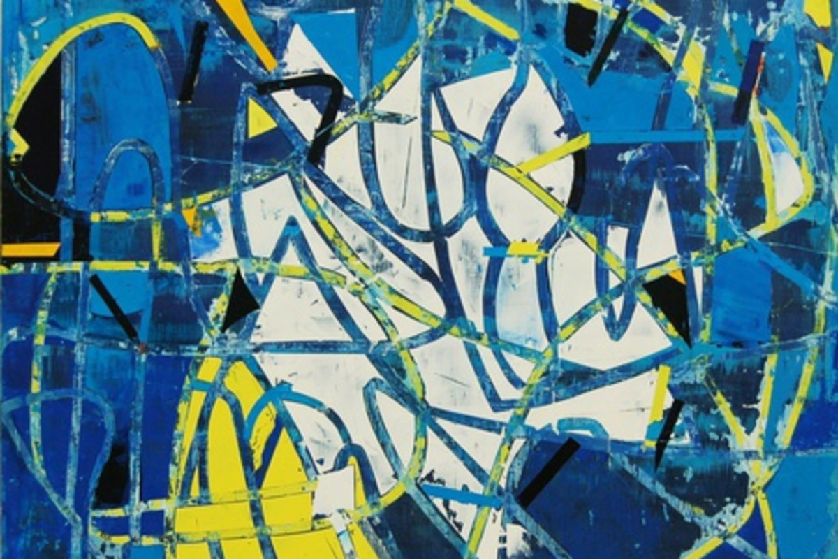 Abstract painting on canvas with primarily cool colors. The painting is of both yellow and blue lines creating an overlapping movement in the foreground. The background has shades of blue and white that compliment the rustic lines.
