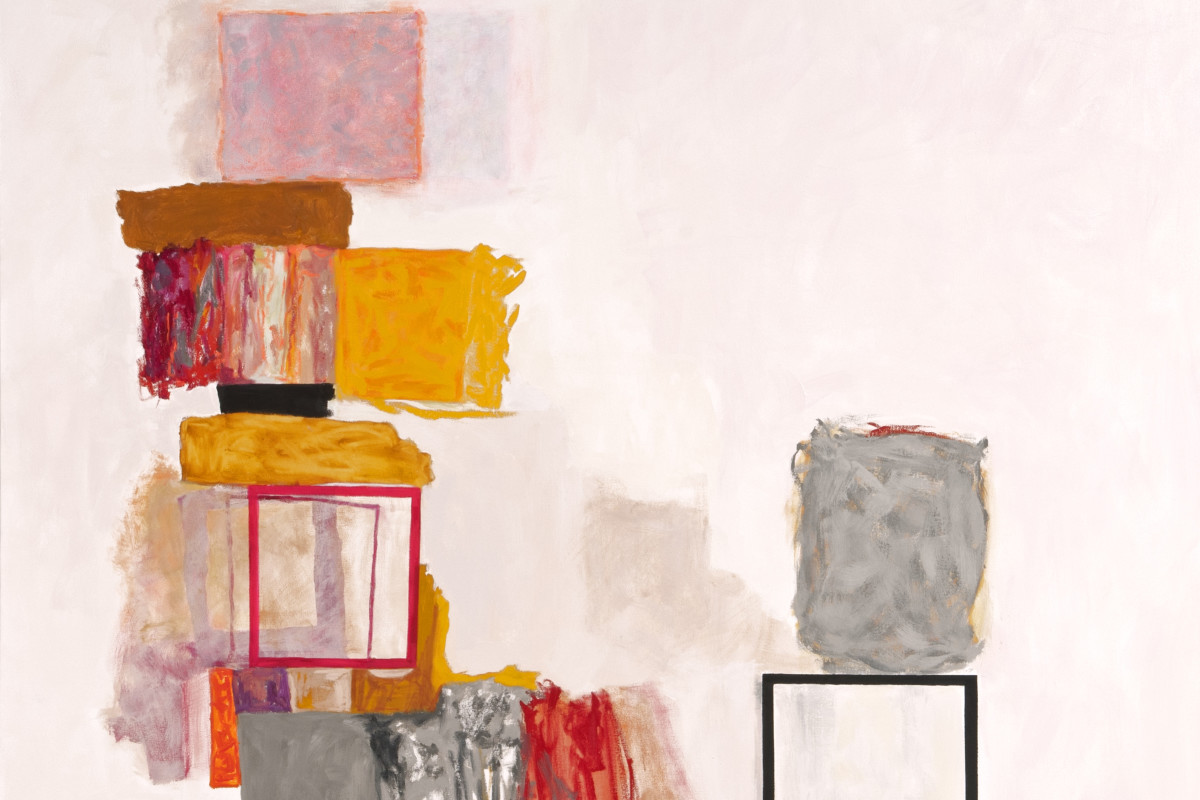 "Rocio Rodriguez's ""Bits and Pieces"" oil painting on canvas in shades of pink, red, yellow, gray and brown. The painting depicts squares spread throughout the canvas. The title may be referring to what the squares are representing making it abstract."
