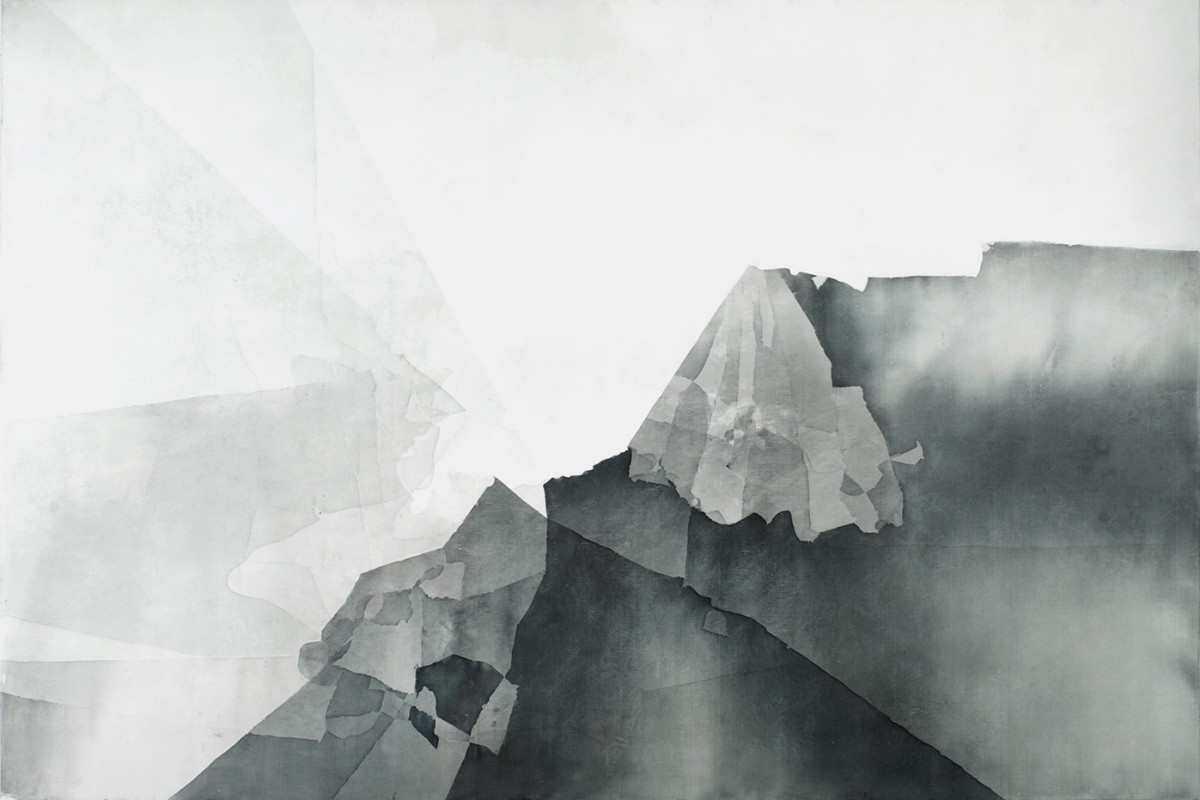 Artwork by Eric Blum using ink, silk and beeswax on panel. This artwork resembles mountains from a point of view creating linear perspective. There are other layers that are placed in front of the darker mountains making it more visible.