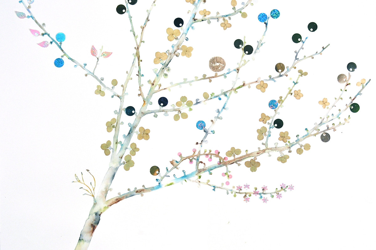 "Marilla Palmer's ""Tree Buds"" mixed media in Arches paper in shades of blue, green, gray, brown and pink. The painting depicts a tree in a gradient white background. The buds are small and sprinkled throughout the branches that it gives a feel of spring."