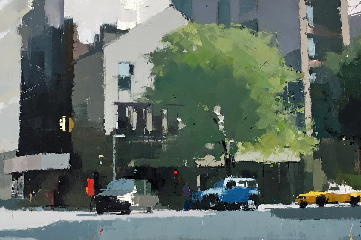 "Lisa Breslow's ""Soho Morning"" oil painting and pencil on canvas in several shades of gray, green, blue, yellow and pink. The painting depicts a town setting with traffic moving and trees that are blending in with the buildings."