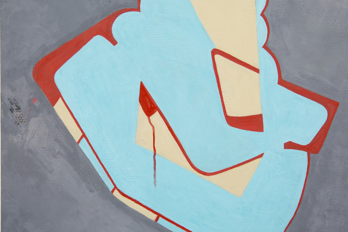 "Fran Shalom's ""Moxie"" oil on canvas using primary and neutral colors. This painting has a graffiti-like design that consists of light turquoise, persian red, and cream colors that is centered in a cooler gray background."