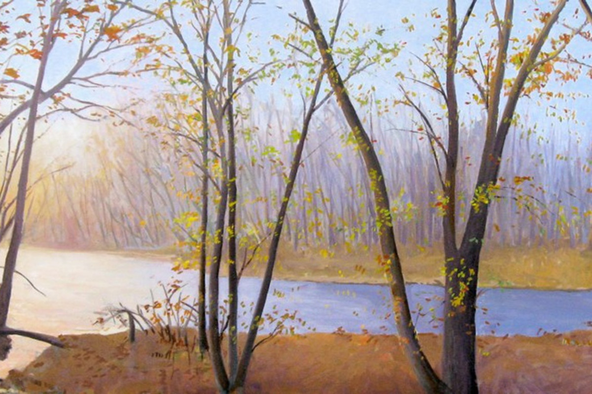 "Elissa Gore's ""Neshaminy Creek"" oil painting on canvas in shades of orange, yellow, blue, green and brown. The painting depicts a forest fall setting with a sense of depth of field with the trees in both the background and foreground."