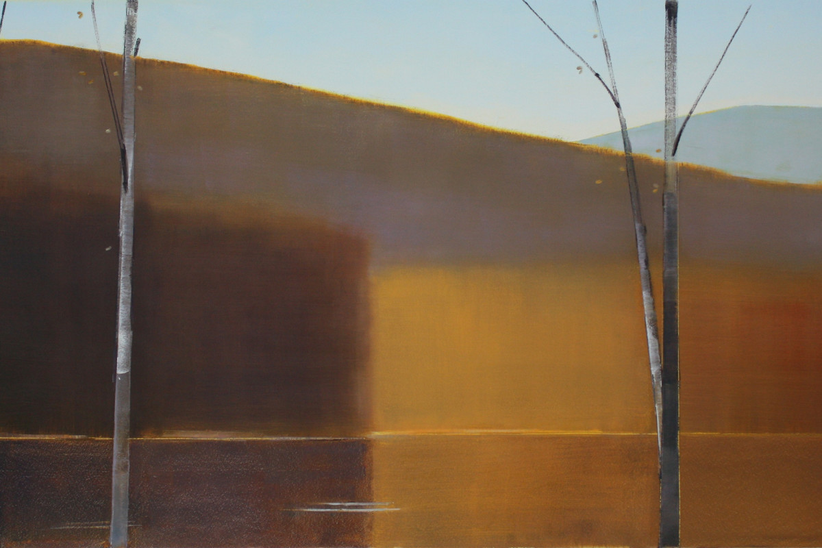 "Stephen Pentak's ""2016, III.II"" oil painting on panel in various shades of brown, gray and blue. The painting depicts part of the woods with three trees in the foreground. There are multiple layers of depth as each plain recedes into the distance."