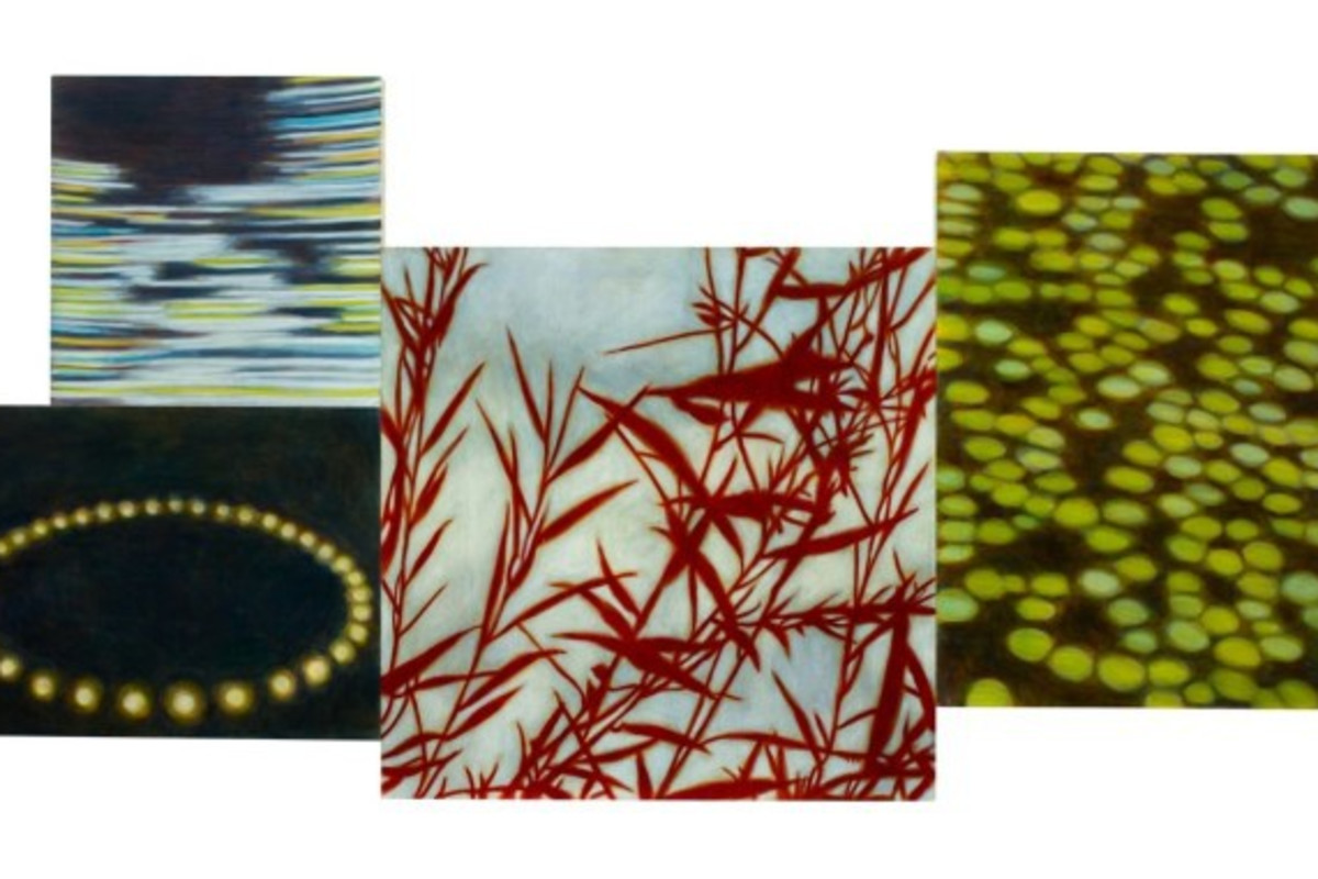 Four separate abstract paintings on canvas. The center painting is a red silhouette of plants. The right painting resembles water lily pads. The lower left painting resembles firefly lights in a circle and the upper left painting resemble fast motion.