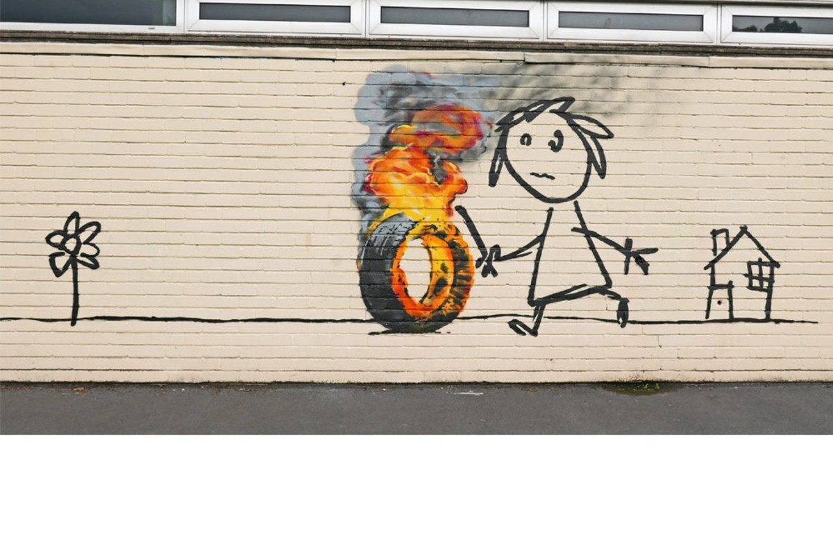 Banksy mural appears in school playground.