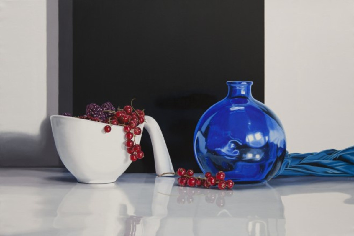 """Berries & Blue Cloth"" - Oil on canvas, 97 x 146cm"