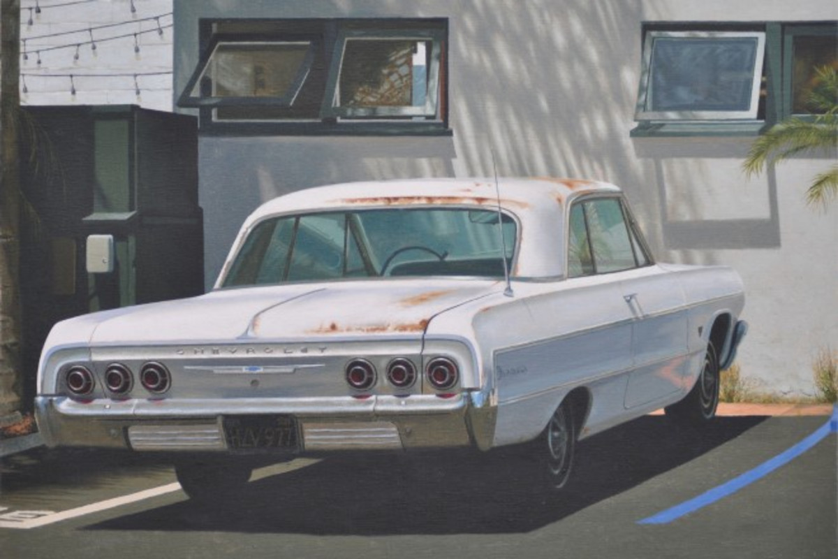 """Parked up in San Clemente"" - Oil on linen, 38 x 53cm"