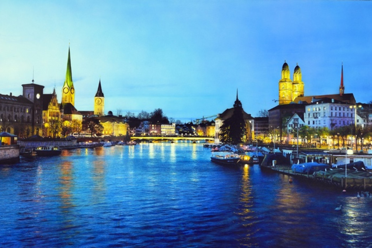 Andres Castellanos 'Limmat River' Acrylic on board, 81 x 130 cm
