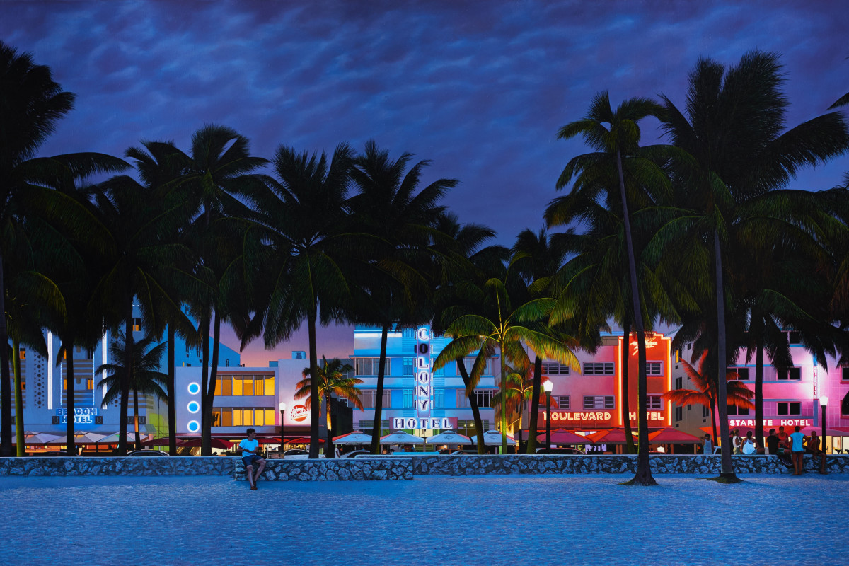 'Ocean Drive, South Beach, Miami', Oil on canvas, 120 x 250 cm