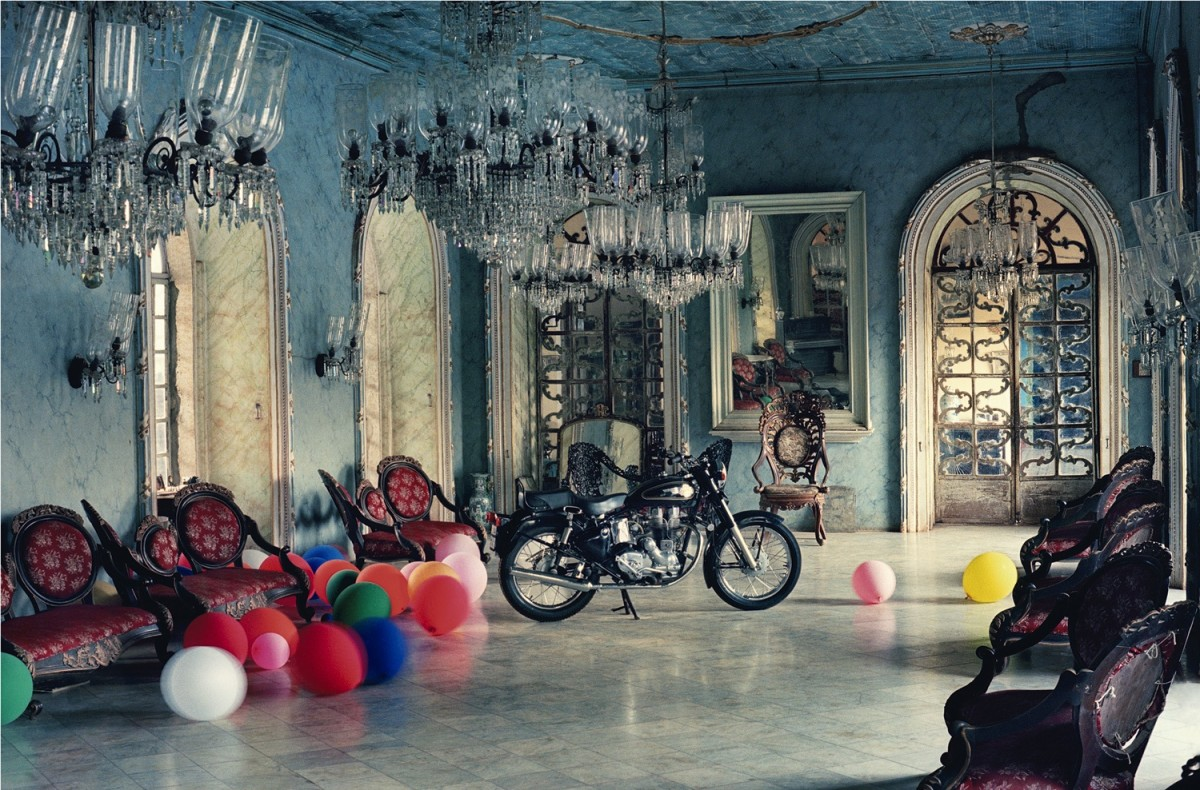 "<div class=""artist""><strong>Tim Walker</strong></div><div class=""title_and_year""><em>Motorbike in Ballroom, Goa, India, 1999</em></div><div class=""medium"">C-type print</div><div class=""dimensions"">60.4 x 82.6 cm</div><div class=""edition_details"">Edition of 15</div><div class=""signed_and_dated"">Accompanied by a signed, titled and editioned label from the artist</div>"