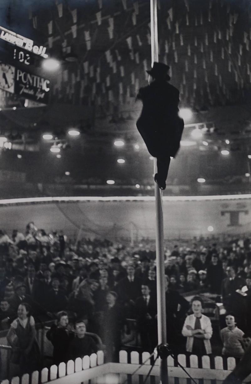 Antwerp 6 Days Cycle Race (Man up pole at Velodrome, Antwerp), Feb 1961