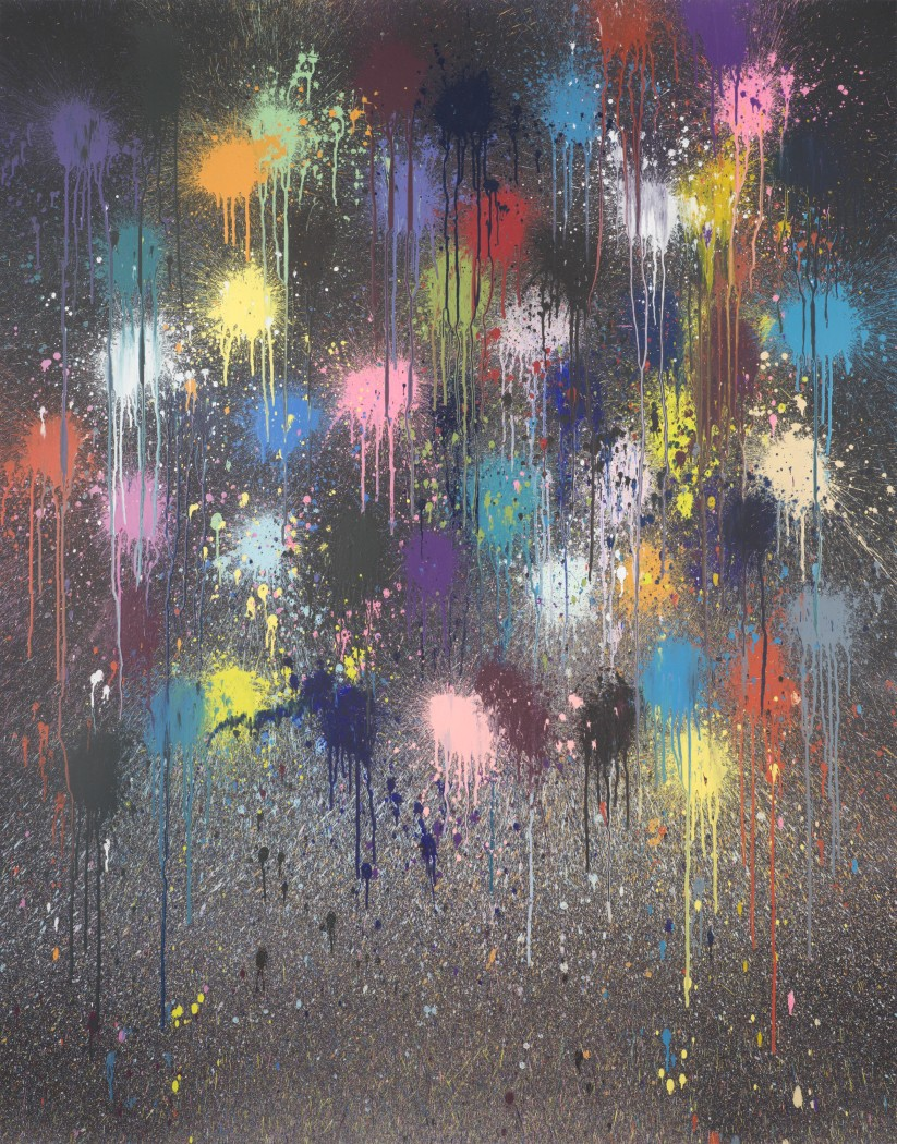 Sparkler 2020 acrylic on Somerset Tub sized satin paper 600gsm 72 7/8 x 57 1/8 inches 185 x 145 cm
