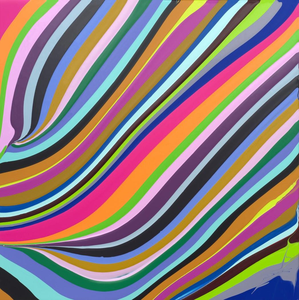 Whirl, 2018 Acrylic on aluminium mounted on aluminium panel 50.8 x 50.8 cm
