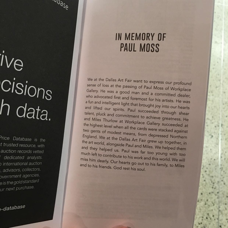In Memory of Paul Moss