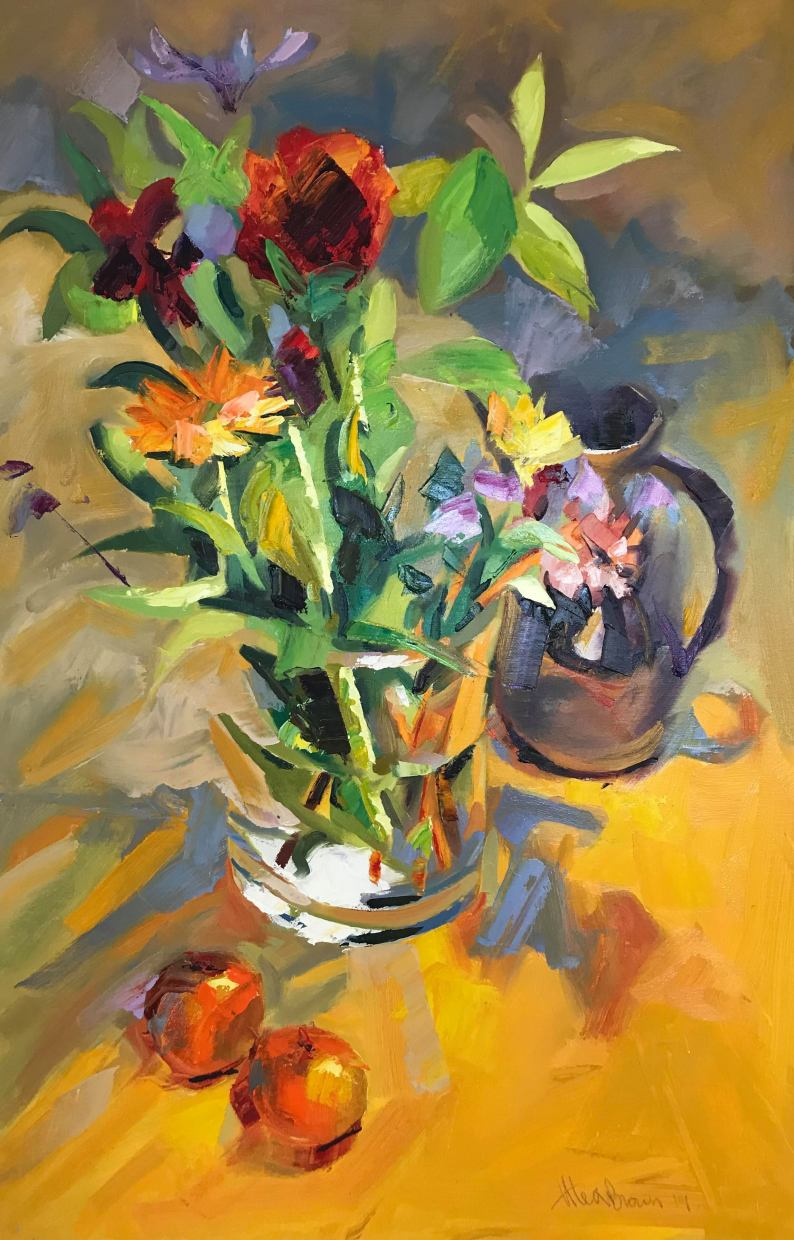 Mixed flower in glass vase