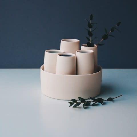 Porcelain cylinder vase set