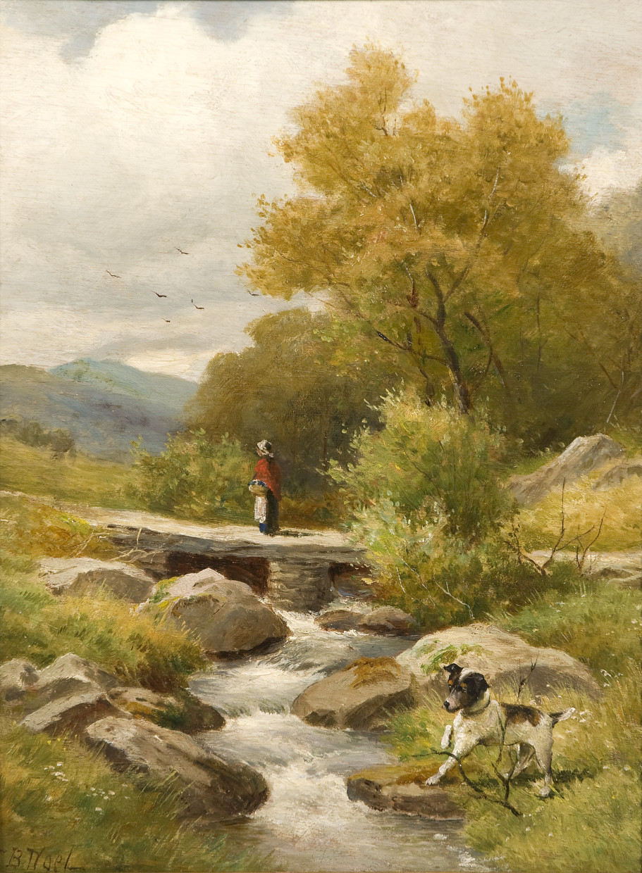 Landscape with figure on a bridge & dog