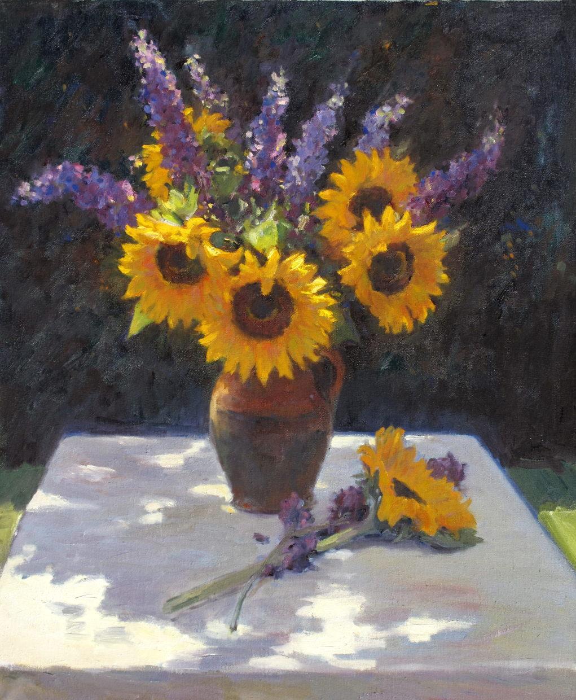 Sunflowers and buddleia
