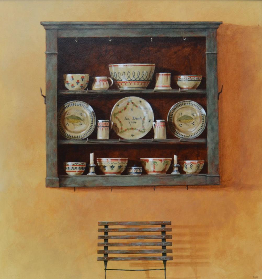 Painted shelves & china 1996