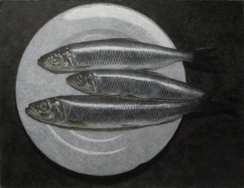 Herrings on a plate SOLD