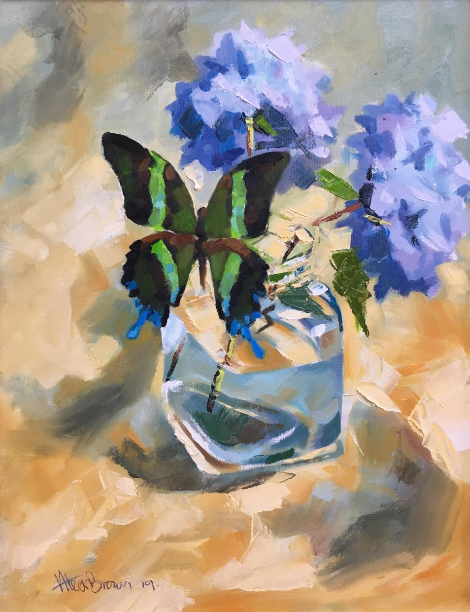 Butterfly and blue Hydrangea