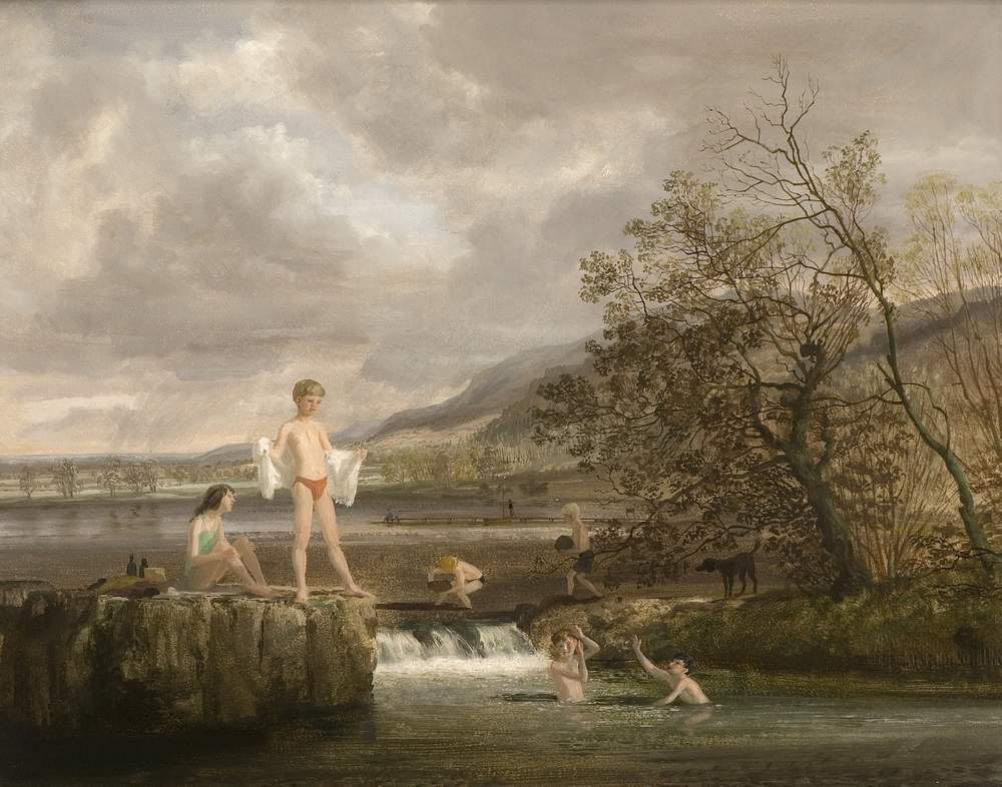 Children bathing in a lake