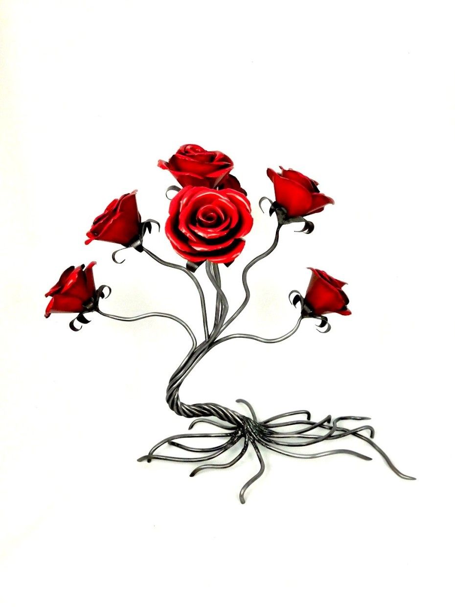 Seven red roses on spiral