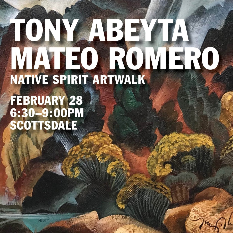 Tony Abeyta with Mateo Romero and work by Fritz Scholder
