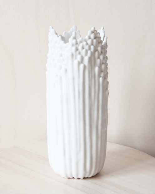 Cécile Bichon, Grand Vase Floral Blanc Satiné, 2019