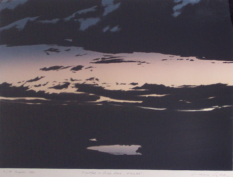 Grahame Sydney, Nightfall on Ridge Road, Maniototo, 33/75, 2000