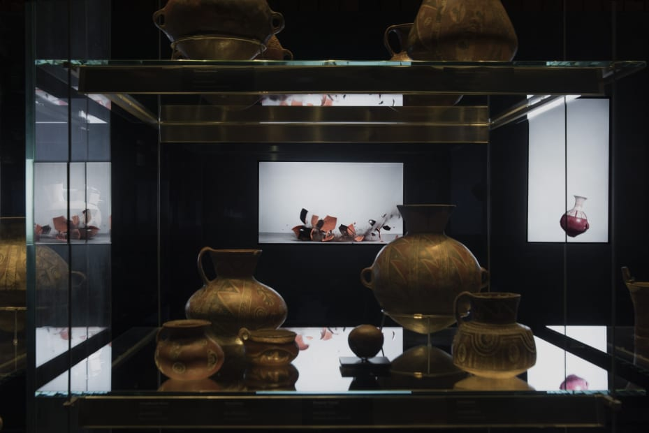 Installation view from the exhibition, Free Fall at the Chilean Museum of Pre-Columbian Art, 2017