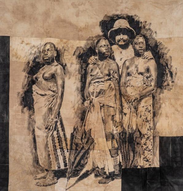 Roméo Mivekannin, Colon avec trois femmes noires aux seins nus tenant des parapluies (1915) - Série Barnum, 2019