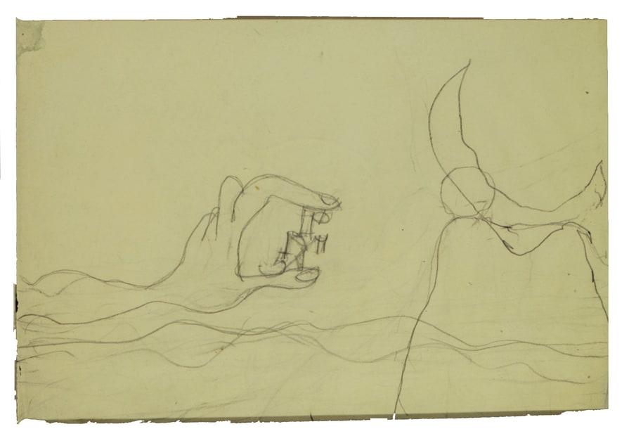 Osvaldo Licini, 49_159 PM5A nella mano + personaggio + sole-luna, 1938-1940?