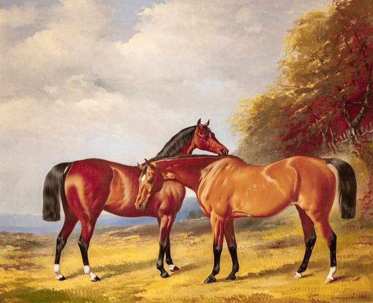 Henry Barraud, Two Bay Hunters in a Landscape, 1860
