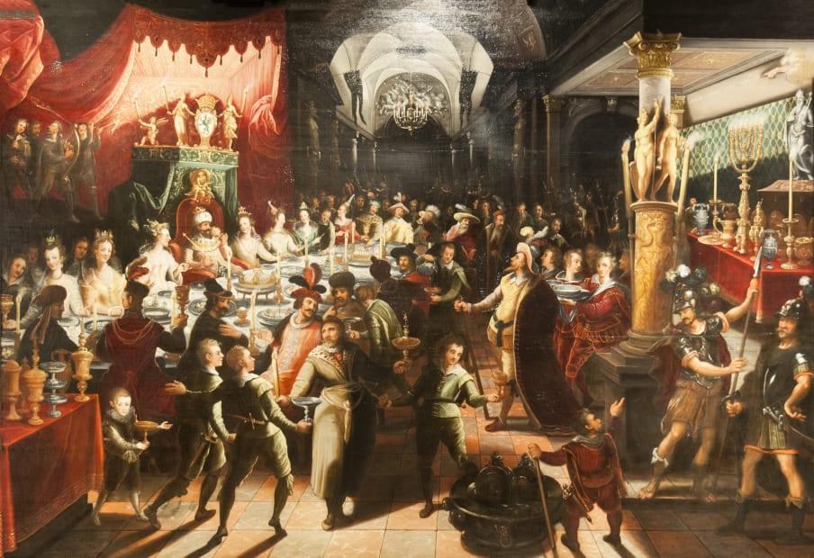 Flemish School, Belshazzar`s Feast, c. 1600