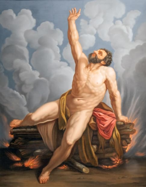 Follower of Guido Reni (19th Century), The Death of Hercules on the Funeral Pyre