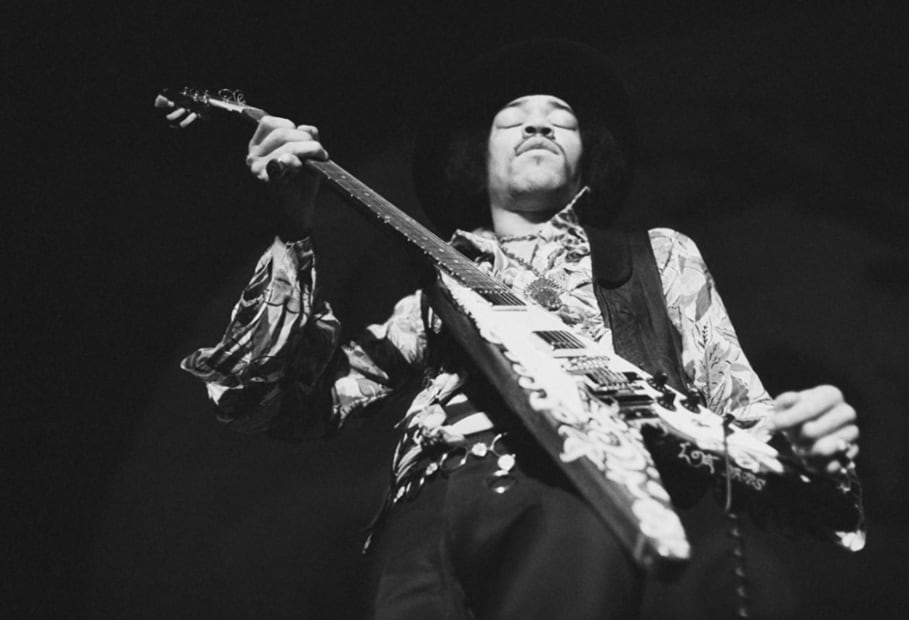 Baron Wolman, Jimi Hendrix on stage at the Winterland Ballroom in San Francisco, February 1968.