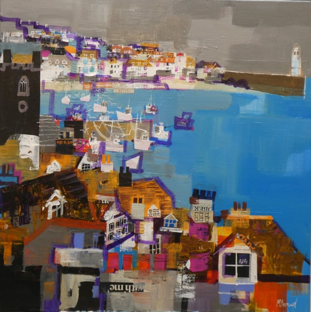Mike Bernard RI, Rooftops & Boats St Ives, 2021