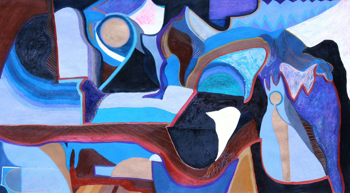 María Korol, Tidal Range, 2021, ink, dry and oil pastels, paint on primed paper, 46 x 85 inches