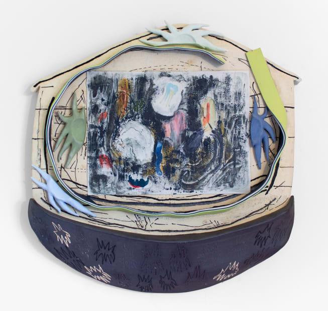 Andrea Clark, Creepin, 2018, porcelain and stoneware, 20.5 x 20 x 3.25 inches