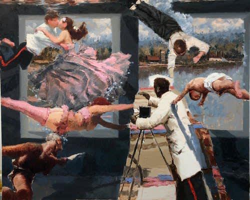 Ariel Cabrera Montego Wet Campaign (from the series La Tregua Fecunda) 2019 oil on canvas 66 x 54 inches