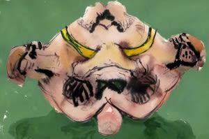 Joseph Peragine, Grappling Mandala: Green Mat 2, 2013